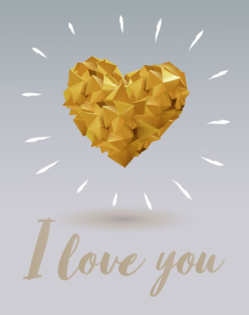 Abstract gold geometric shapes conbine to heart symbol shape on light gray background for valentine greeting Vettoriali