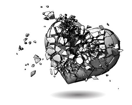 Coeur brisé monochrome avec stylo et encre dessin style illustration sur fond blanc