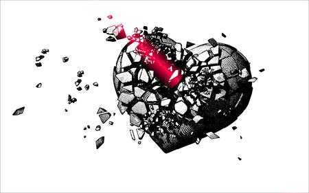 heartbreak: Monochrome engraving broken heart illustration with beam shooting on white background