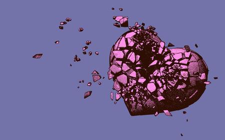 Pink engraving broken heart illustration on purple background Vettoriali