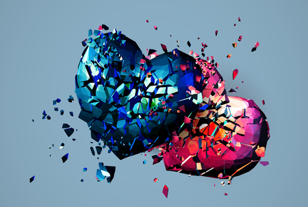 Two polygonal heart crashed and broken both on blue background