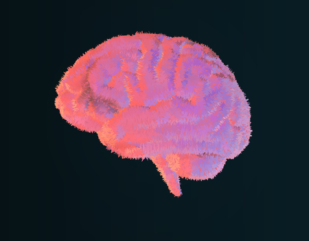 Furry brain illustration with pastel color style on dark background Illustration