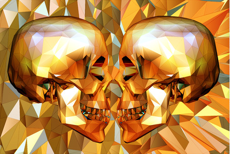 Two low polygon skull in side view facing to each other on orange polygonal background Ilustração