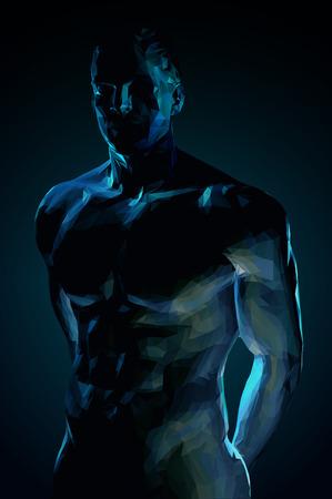 Corps du corps masculin polygonale sur fond bleu foncé Banque d'images - 73126329