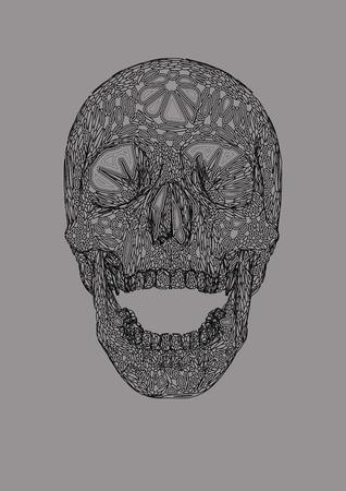 Vector skull front open jaw drawing,Human boho ornamental blob shape decorative skull,