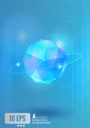 Abstract geometric glass triangular sphere with technology conceptual on light blue background and the hexagonal element 矢量图像