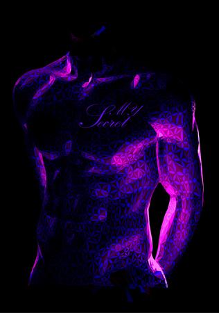 Corps de corps musclé mâle stylisé avec motif en éclairage discret sur fond sombre avec un espace pour votre texte Banque d'images - 74128432