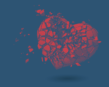 Red broken heart with pen and ink drawing illustration style on blue background