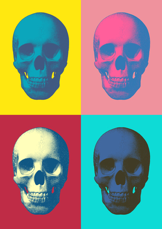 Set of pop art engraved skull vector illustration in front view