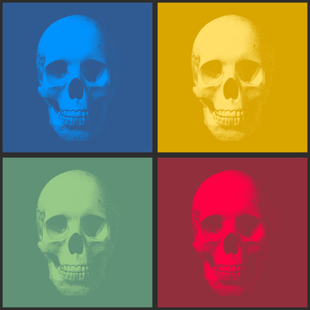 Set of pop art engraved skull vector illustration in front view on square Illustration