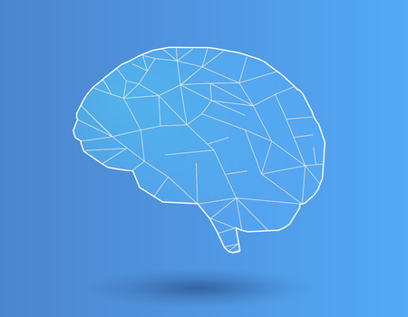 Simply stylized polygonal brain with white line on blue background Illustration