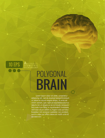Negative xray low poly brain on yellow green abstract geometric connected dots graphic background