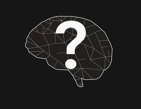 Simply stylized polygonal brain with white line and question symbol on black background