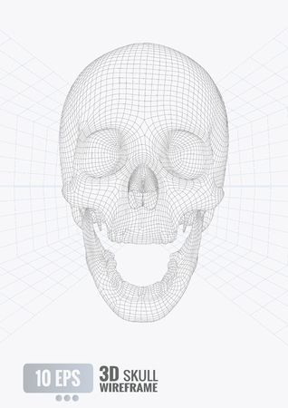 Vector 3D wireframe skull front view isolated on perspective grid on white background 向量圖像