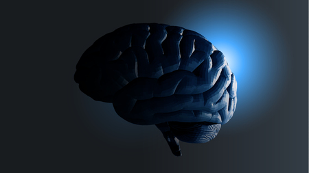 rim: Vector polygonal brain in lateral view in darkness with glowing rim light illustration