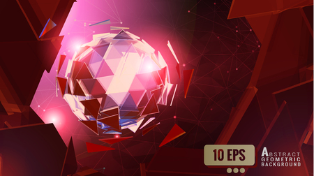 Abstract polygonal triangle sphere glowing on shatter element with red space background graphic template Ilustração