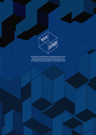 lay: Isometric abstract shapes lay on blue background