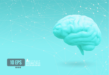 Light green turquoise low poly brain side lateral view on connect dots  background Illustration