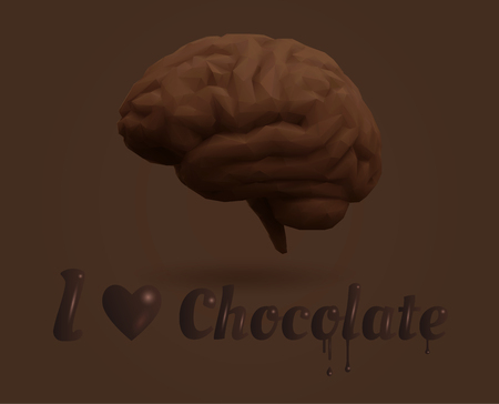 사랑 초콜릿 단어와 낮은 폴리 벡터 갈색 초콜릿 두뇌 그림