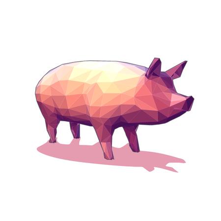 白い背景に分離されたローポリゴンのベクトル 3 D 豚イラスト