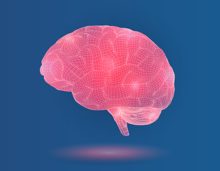 Pink 3D wireframe polygon brain with glowing point vector graphic illustration on blue background