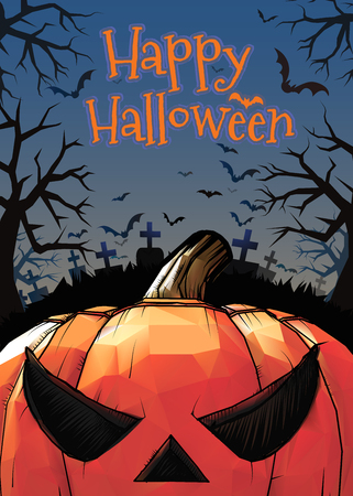 Jack o lantern at foreground with cartoony style in the darkness grave background for halloween greeting in colorful artwork Illustration