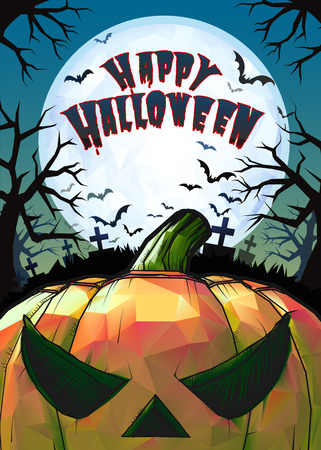 Jack o lantern at foreground with cartoony style in the darkness grave background for halloween greeting in colorful artwork Ilustração