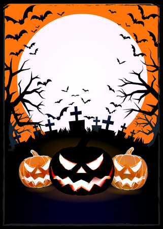 Jack o lantern at foreground in the darkness graveyard background for halloween greeting with silhouette and space for your text