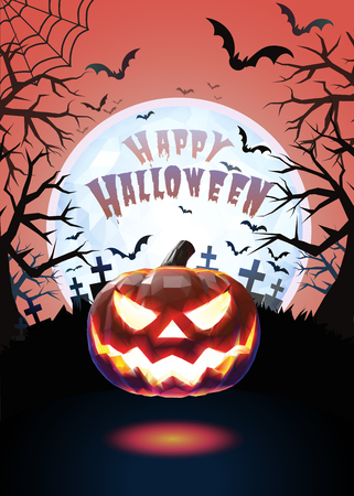 spider web: Jack o lantern glowing at foreground with cartoony style in the darkness graveyard background for halloween greeting on colorful artwork