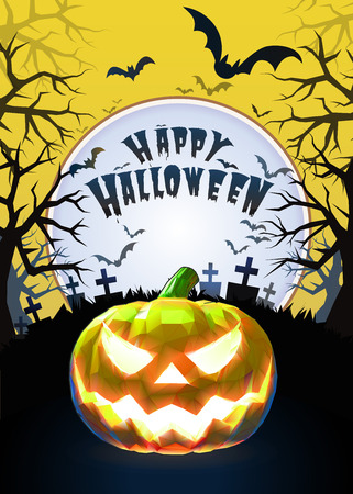 Jack o lantern glowing at foreground with cartoony style in the graveyard background for halloween greeting on bright yellow artwork Illustration