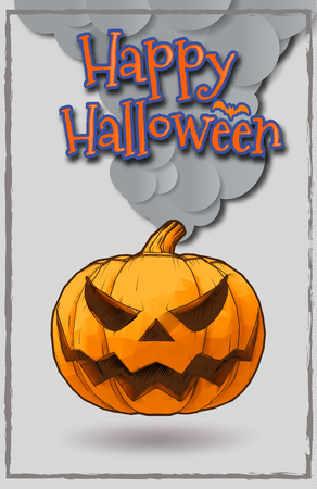 Happy halloween greeting card with Jack o lantern pumpkin engraved drawing style on light gray background