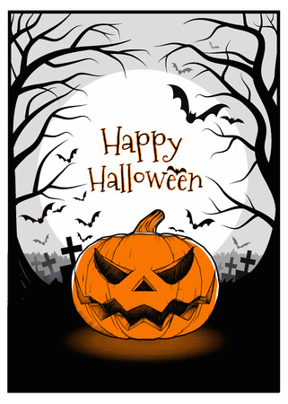 Jack o lantern on full moon in the darkness background with orange and black color tone for halloween greeting Illustration