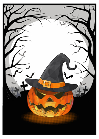 Jack o lantern and witch hat on full moon in the darkness background with orange and black color tone for halloween greeting