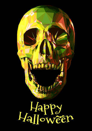 Low poly colorful jewel rainbow skull on dark background for halloween greeting