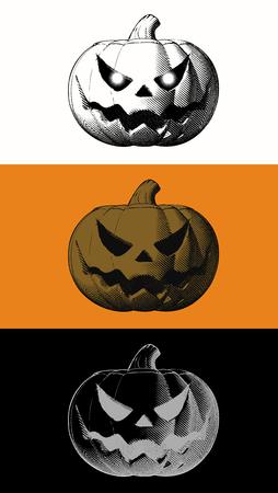 Engraving jack o lantern pumpkin on various color background for halloween decoration Illustration