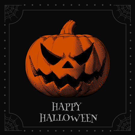 Jack o lantren engraving drawing with orange scary expression on black space background for halloween greeting