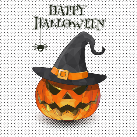 A Jack-o-lantern with witch hat on monochrome half tone for Halloween greeting. Ilustracja