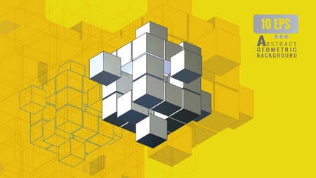Abstract isometric geometric combination cube graphic template on yellow background