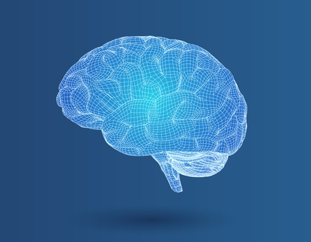 3D wireframe polygonal brain graphic illustration in lateral side view on blue background