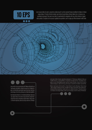 Abstract spiral wireframe technology conceptual with space for text and headline on black background Vectores