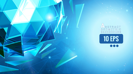Blue polygonal abstract triangle sphere glow on geometric graphic template background