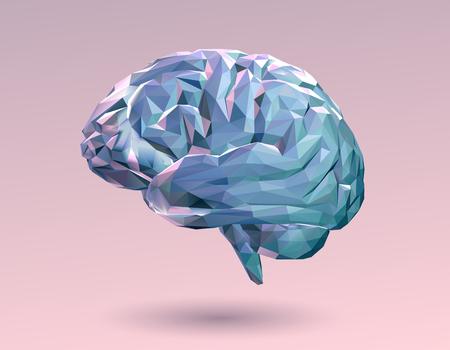 ピンクの背景にカラフルなパステル低ポリ脳  イラスト・ベクター素材