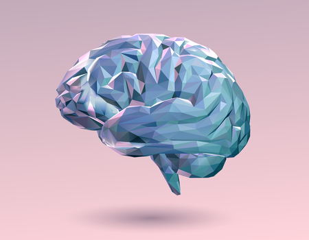 Colorful pastel low poly brain on pink background Stock Illustratie