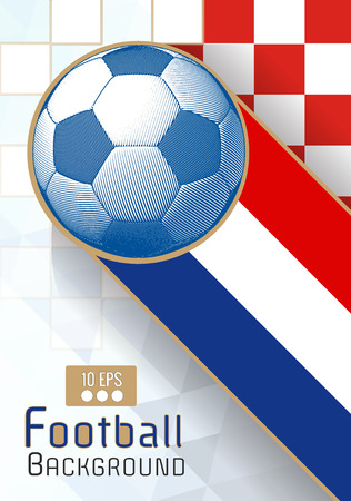 Engraving soccer ball and shadow space illustration with  triangular element and color stripe in Croatia theme background