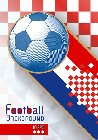 Engraving soccer ball and shadow space illustration with orange triangular and color stripe in Croatia theme background
