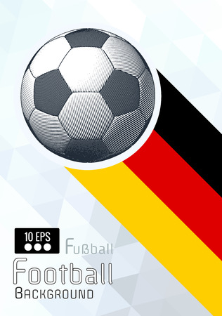 Engraving soccer ball and shadow space illustration with triangular and blue color stripe Germany theme background