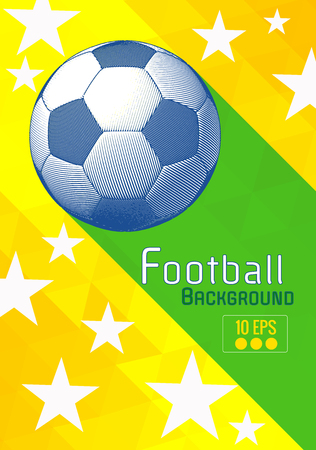Engraving soccer ball and shadow space illustration with green triangular and color stripe in brasil theme background