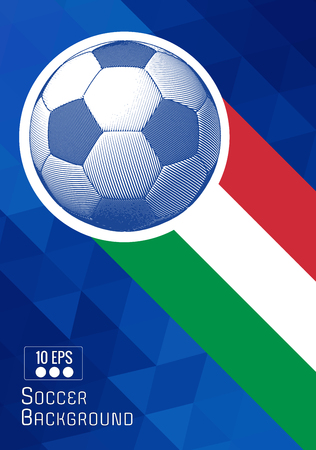 Engraving soccer ball illustration with triangular and color stripe Italy theme BG