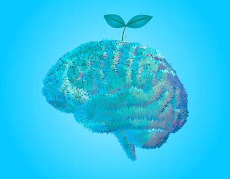 Furry grass and leaves plant grow on brain illustration on bright blue background Illustration