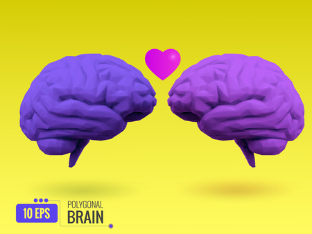 polygonal purple brain fall in love mood with heart symbol on bright yellow background Illustration